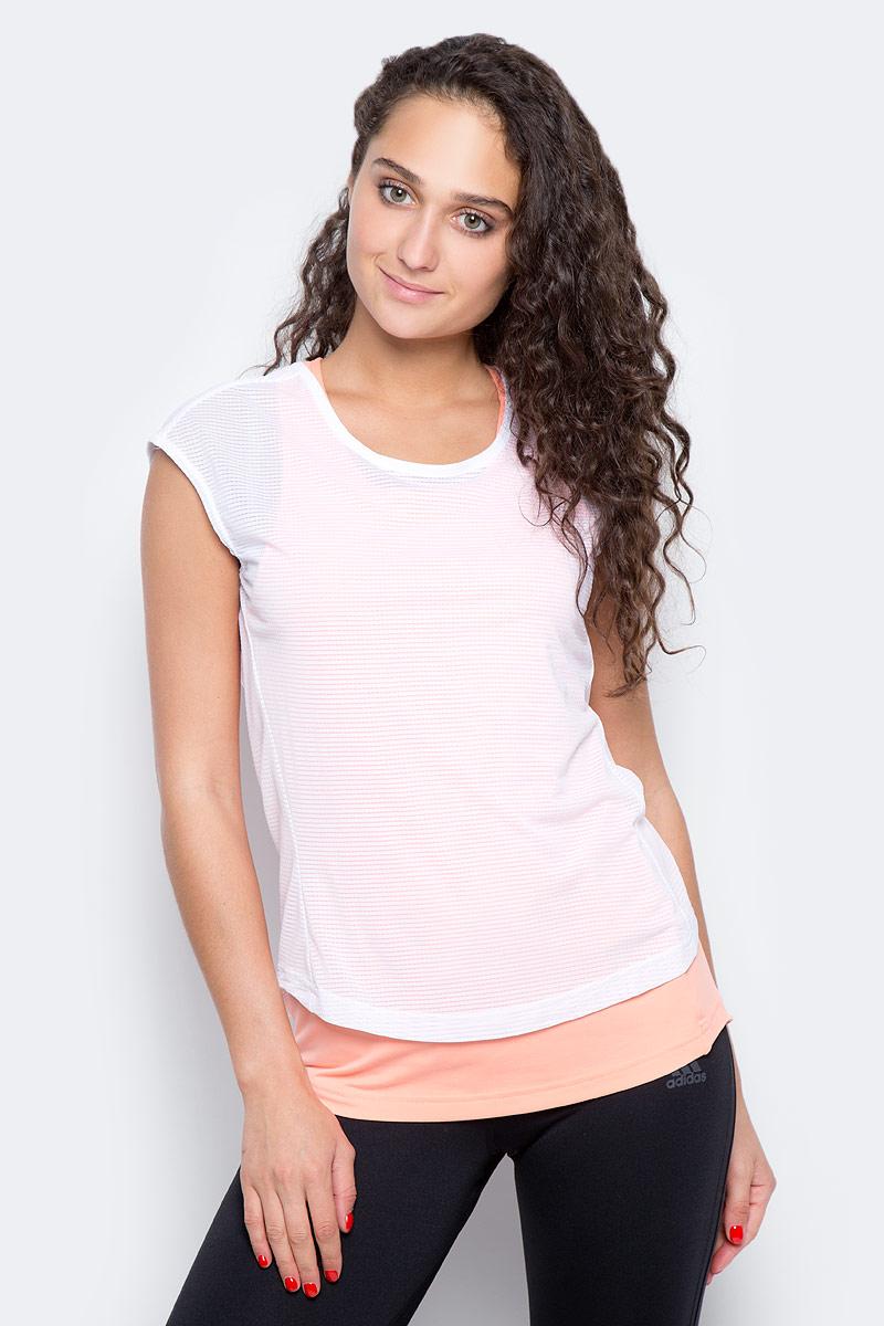 Футболка 2 в 1 для бега женская Adidas Tko 2 Layer W, цвет: белый, розовый. CF0937. Размер M (46/48) борцовки adidas combat speed 5 серо желтые ba8006