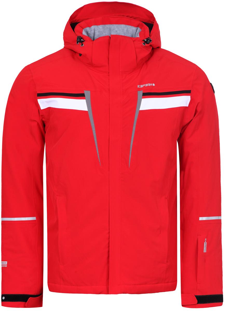 Куртка мужская Icepeak, цвет: красный. 856108535IV_646. Размер 46856108535IV_646Куртка мужская Icepeak выполнена из полиэстера и эластана. Модель с длинными рукавами и капюшоном застегивается на застежку-молнию.