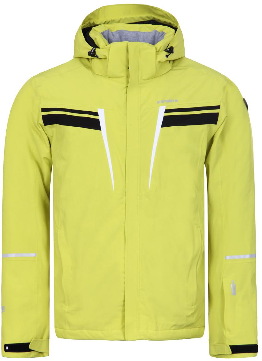 Куртка мужская Icepeak, цвет: светло-зеленый. 856108535IV_510. Размер 54856108535IV_510Куртка мужская Icepeak выполнена из полиэстера и эластана. Модель с длинными рукавами и капюшоном застегивается на застежку-молнию.