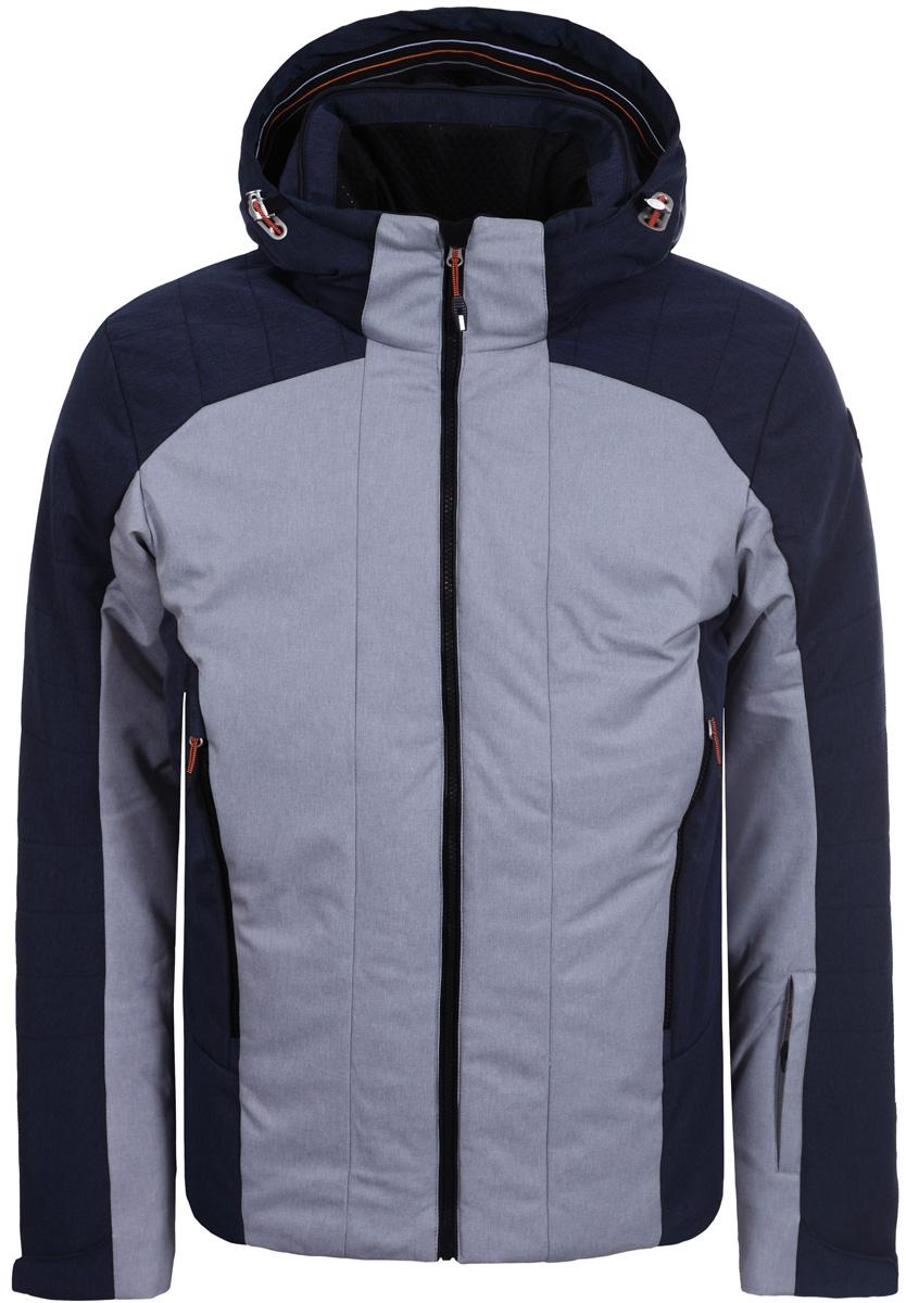 Куртка мужская Icepeak, цвет: серый, синий. 856201611IV_810. Размер 50856201611IV_810Мужская куртка Icepeak с длинными рукавами и несъемным капюшоном выполнена из прочного полиэстера. Модель застегивается спереди на застежку-молнию. Изделие имеет спереди два втачных кармана на молнии и на рукаве втачной карман на молнии. Манжеты рукавов дополнены хлястиками на липучках. Капюшон дополнен эластичным шнурком со стопперами.
