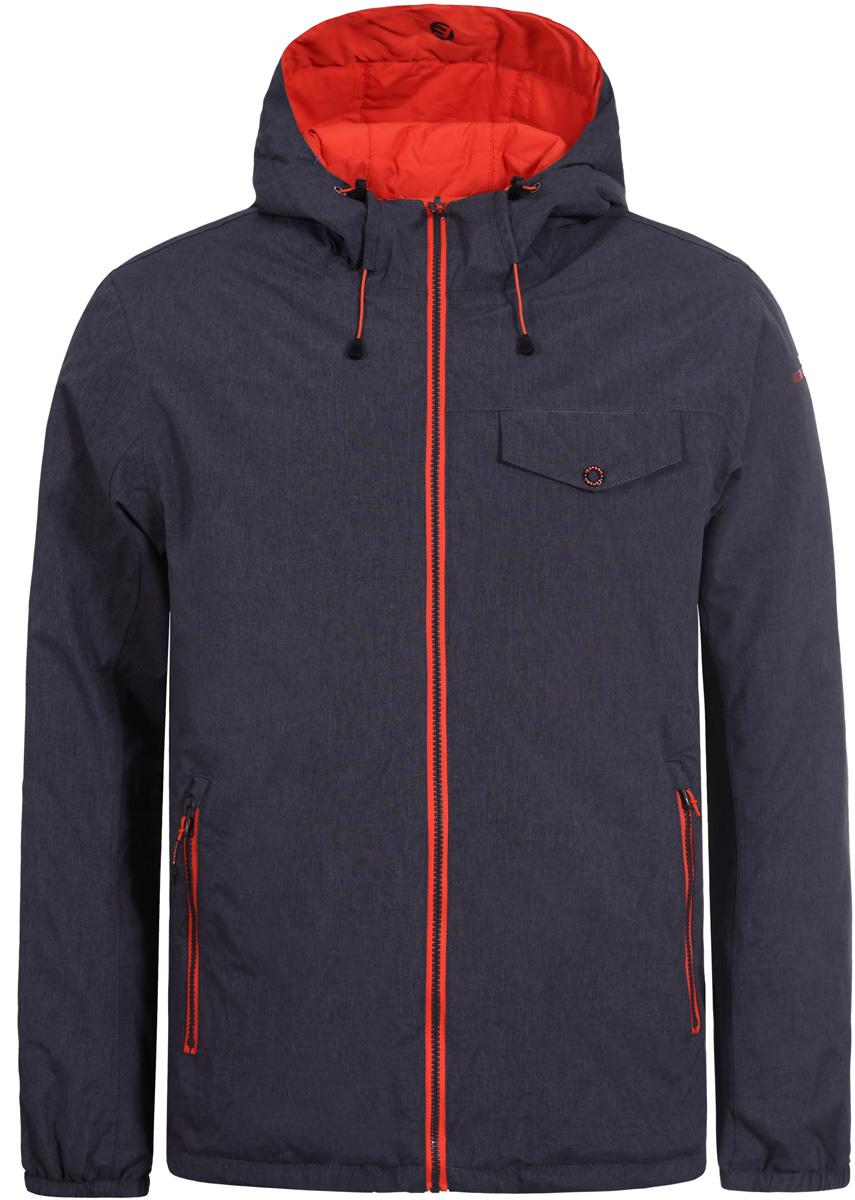 Куртка мужская Icepeak, цвет: серый. 856237805IV_817. Размер 46856237805IV_817Куртка мужская Icepeak выполнена из полиэстера. Модель с длинными рукавами и капюшоном застегивается на застежку-молнию.