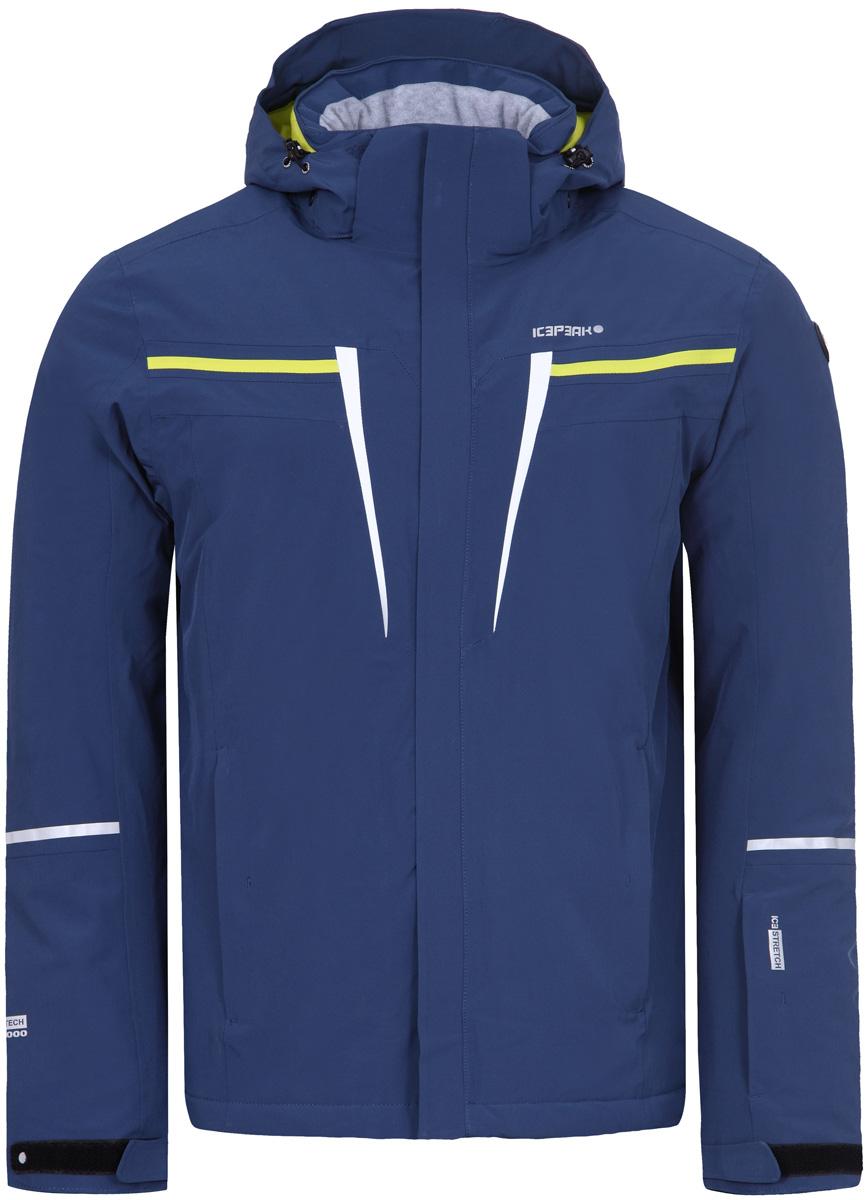 Куртка мужская Icepeak, цвет: синий. 856108535IV_365. Размер 48856108535IV_365Куртка мужская Icepeak выполнена из полиэстера и эластана. Модель с длинными рукавами и капюшоном застегивается на застежку-молнию.