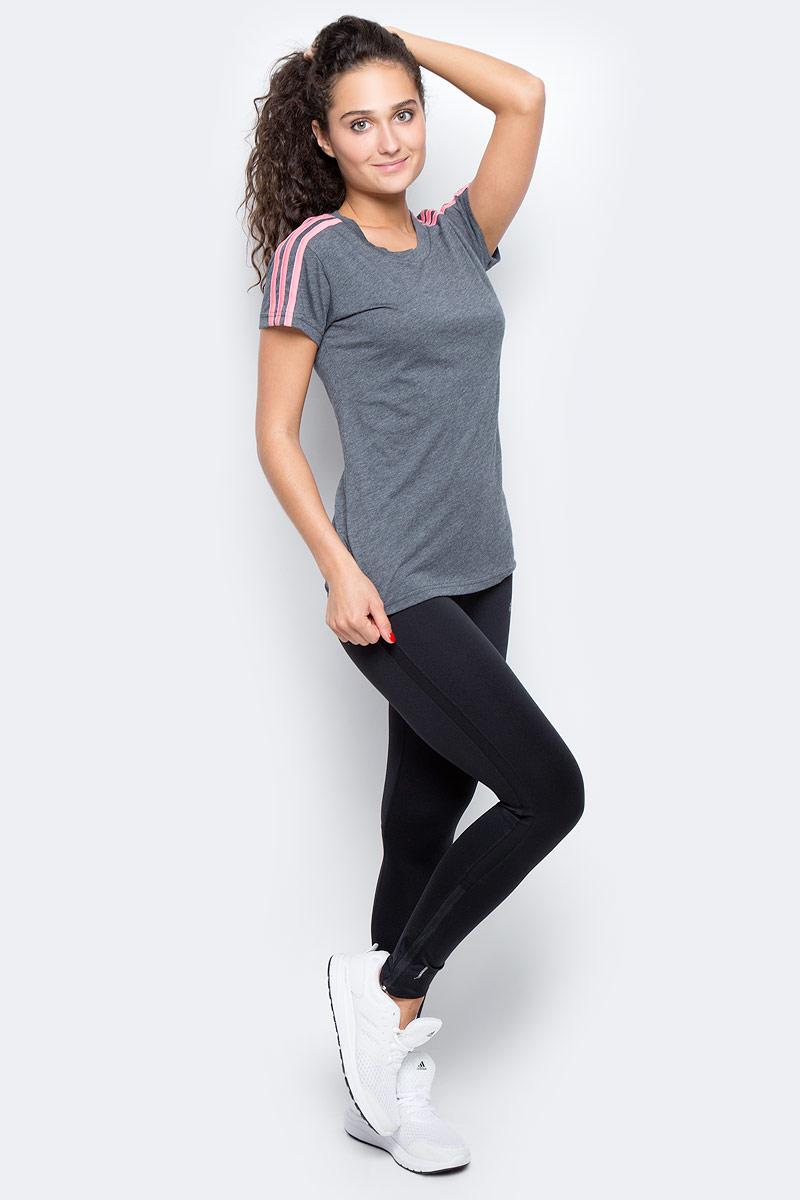 Футболка женская Adidas Ess 3s Slim Tee, цвет: серый, розовый. BR2454. Размер XS (40/42)BR2454Комфортная женская футболка от Adidas с короткими рукавами и круглым вырезом горловины выполнена из высококачественного материала. Модель оформлена на плечах тримя полосками.