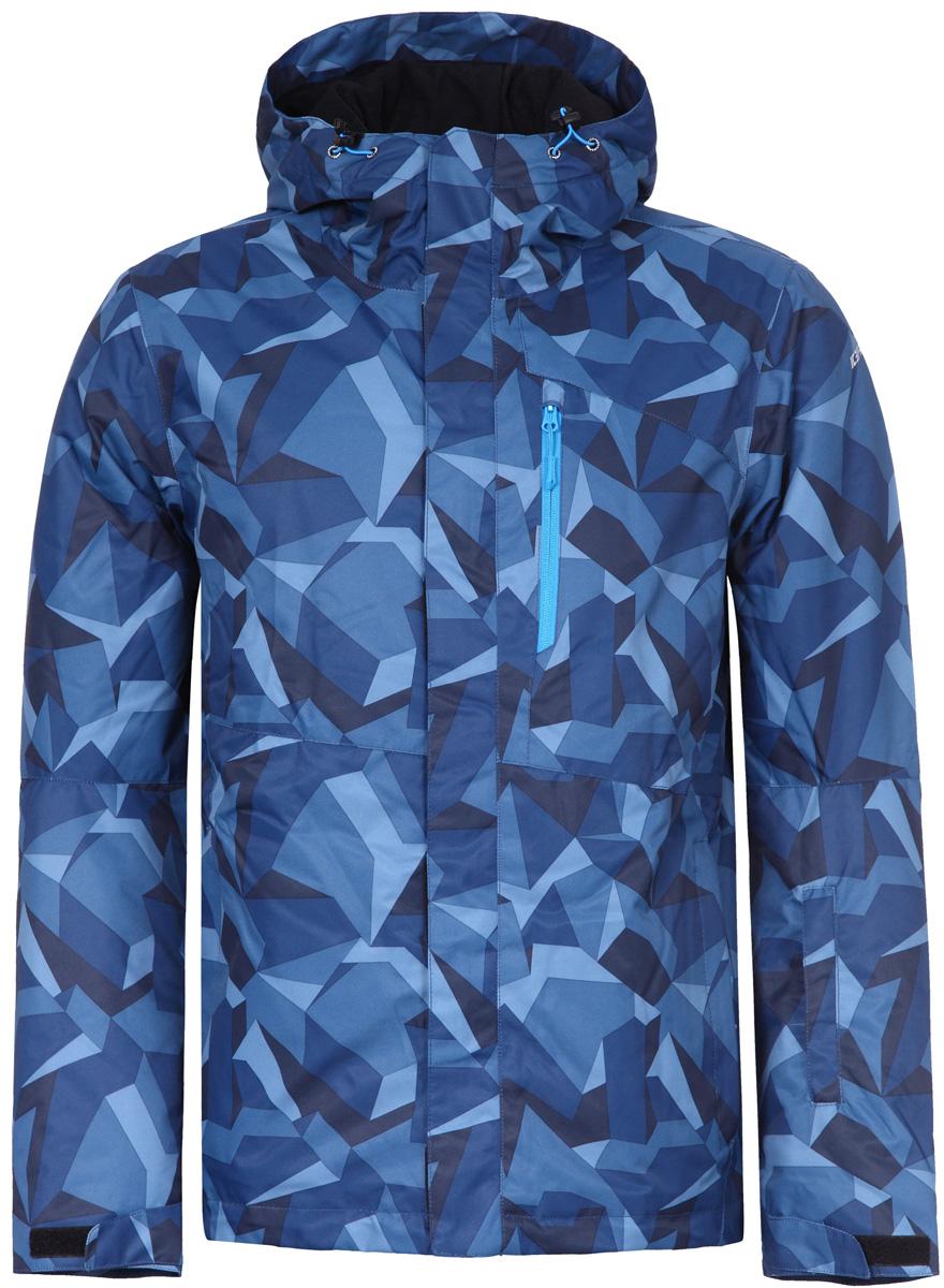 Куртка мужская Icepeak, цвет: синий. 856226571IV_365. Размер 46856226571IV_365Куртка мужская Icepeak выполнена из полиэстера. Модель с длинными рукавами и капюшоном застегивается на застежку-молнию.