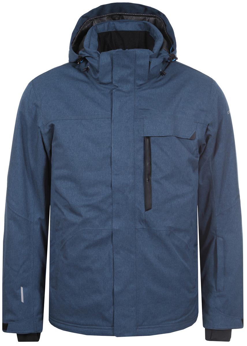 Куртка мужская Icepeak, цвет: синий. 856230611IV_365. Размер 56856230611IV_365Куртка мужская Icepeak выполнена из полиэстера. Модель с длинными рукавами и капюшоном и застегивается на комбинированную застежку.