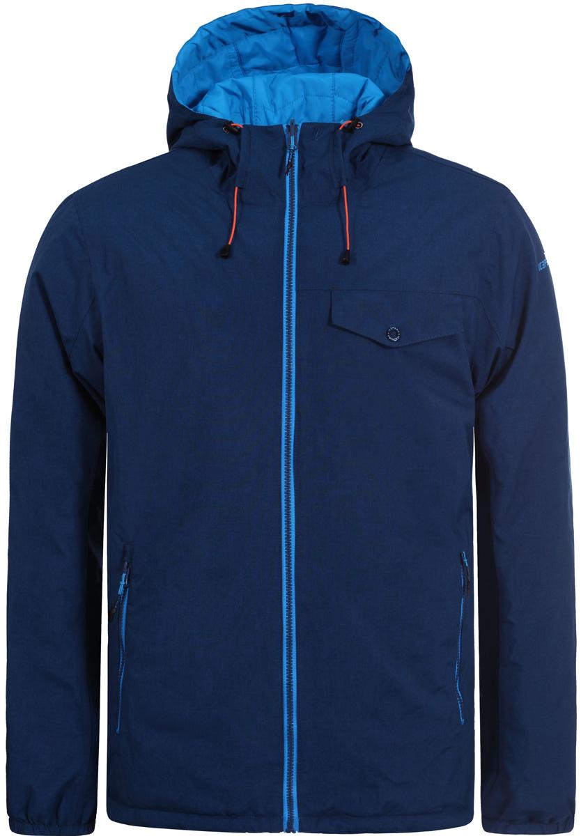 Куртка мужская Icepeak, цвет: синий. 856237805IV_365. Размер 52856237805IV_365Куртка мужская Icepeak выполнена из полиэстера. Модель с длинными рукавами и капюшоном застегивается на застежку-молнию.
