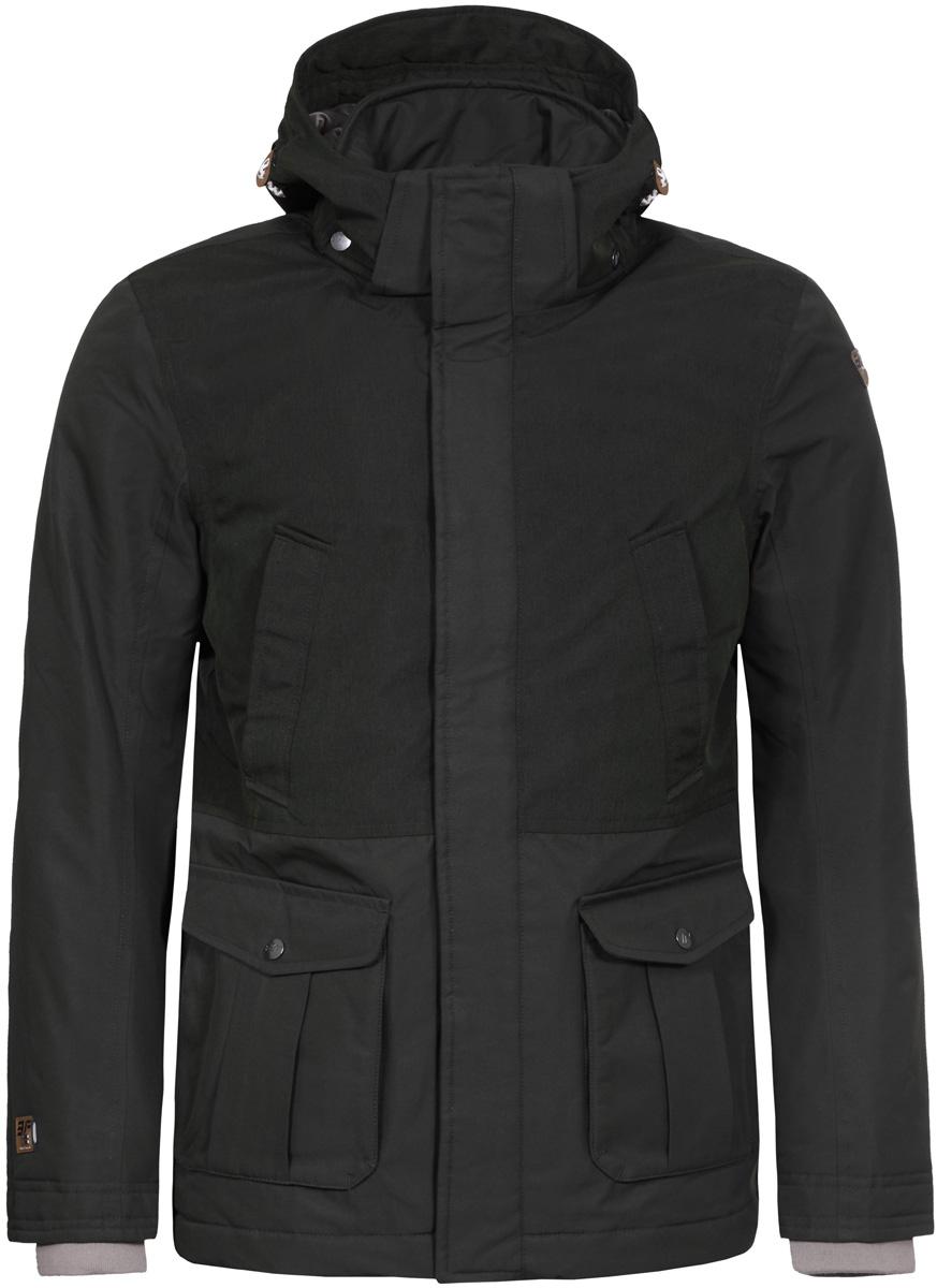 Куртка мужская Icepeak, цвет: темно-зеленый. 856052532IV_585. Размер 58856052532IV_585Куртка мужская Icepeak, изготовленная из водоотталкивающей и ветрозащитной ткани, которая создает оптимальный микроклимат внутри куртки, утеплена полиэстером. В качестве подкладки используется полиэстер. Куртка с воротником-стойкой и капюшоном застегивается на молнию с ветрозащитным клапаном на кнопках. Капюшон имеет эластичный затягивающийся шнурок со стопперами. Рукава дополнены внутренними эластичными манжетами. Спереди куртка дополнена двумя втачными нагрудными карманами на молниях и двумя накладными карманами с клапанами на кнопках.