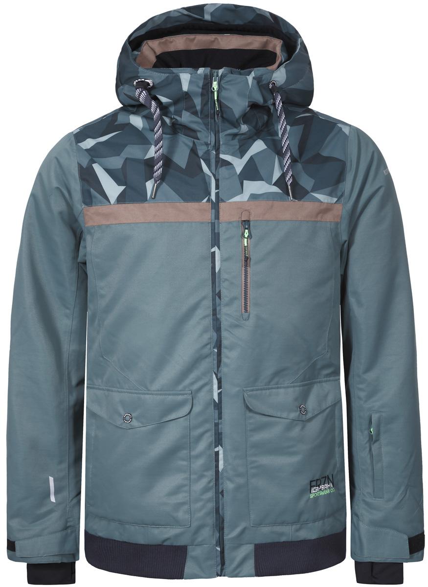 Куртка мужская Icepeak, цвет: темно-зеленый. 856233576IV_550. Размер 52856233576IV_550Теплая куртка от Icepeak выполнена из высокотехнологичной мембранной ткани 10000/5000 и утеплена синтетическим утеплителем с плотностью 100гр/м2. Модель с капюшоном застегивается на молнию с защитой подбородка. Рукава дополнены внутренними эластичными манжетами. Куртка оснащена снегозащитной юбкой. Изделия имеет карман для скипас, один нагрудный карман на застежке молнии и два кармана с клапанами на кнопках.