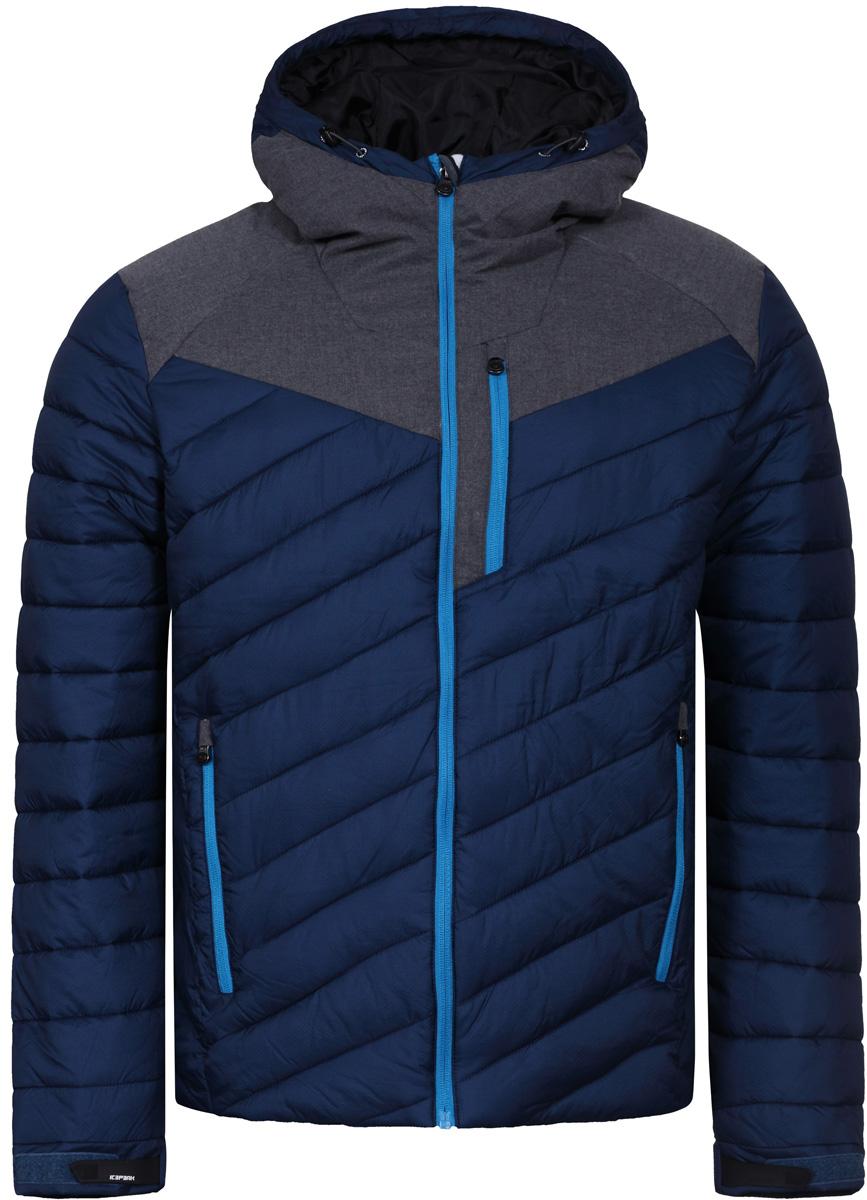 Куртка мужская Icepeak, цвет: темно-синий. 856004650IV_365. Размер 46856004650IV_365Куртка мужская Icepeak выполнена из полиамида. Модель с длинными рукавами и капюшоном застегивается на застежку-молнию.