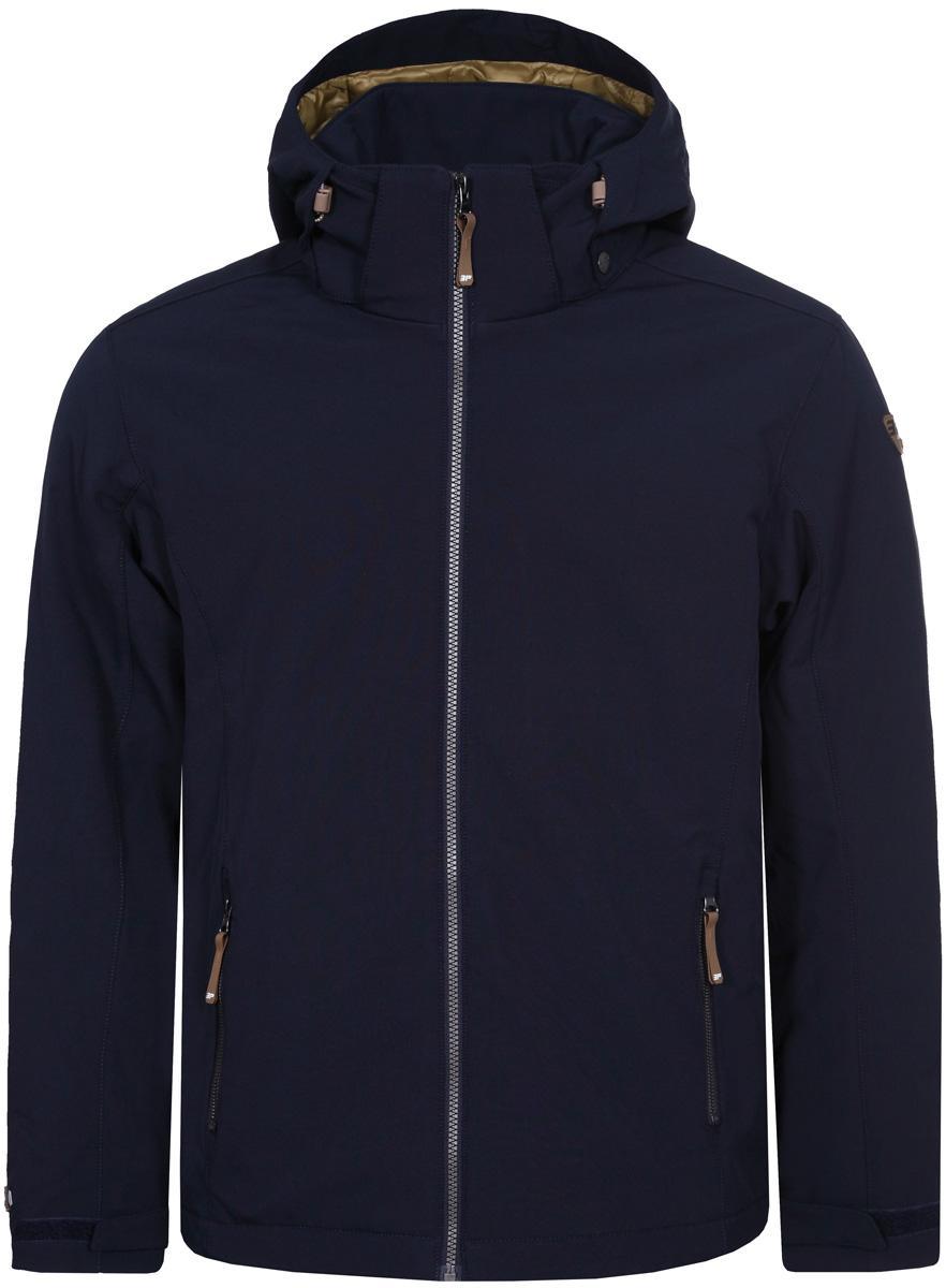 Куртка мужская Icepeak, цвет: темно-синий. 857845682IV_390. Размер XL (52)857845682IV_390Куртка мужская Icepeak выполнена из полиэстера и эластана. Модель с длинными рукавами и капюшоном застегивается на застежку-молнию.