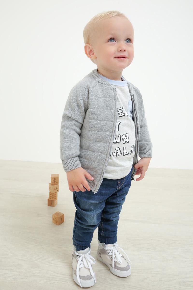 Кофта для мальчика Maloo by Acoola Silvester, цвет: светло-серый. 22150130003_1800. Размер 8022150130003_1800