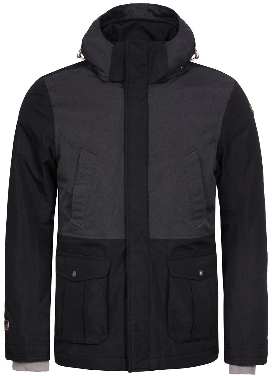 Куртка мужская Icepeak, цвет: черно-серый. 856052532IV_990. Размер 52856052532IV_990Куртка мужская Icepeak, изготовленная из водоотталкивающей и ветрозащитной ткани, которая создает оптимальный микроклимат внутри куртки, утеплена полиэстером. В качестве подкладки используется полиэстер. Куртка с воротником-стойкой и капюшоном застегивается на молнию с ветрозащитным клапаном на кнопках. Капюшон имеет эластичный затягивающийся шнурок со стопперами. Рукава дополнены внутренними эластичными манжетами. Спереди куртка дополнена двумя втачными нагрудными карманами на молниях и двумя накладными карманами с клапанами на кнопках.