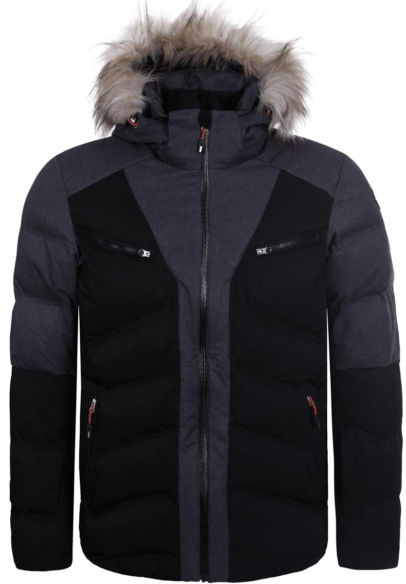 Куртка мужская Icepeak, цвет: черный. 856204611IV_990. Размер 48856204611IV_990Мужская куртка Icepeak выполнена из высокотехнологичнойткани с мембраной и утеплена синтепоном. Модель с длинными рукавами и капюшоном застегивается на застежку-молнию с защитой подбородка. Капюшон оформлен съемной оторочкой из искусственного меха. Изделие дополнено двумя нагрудными карманами на застежках-молниях и спереди карманами на молнии.