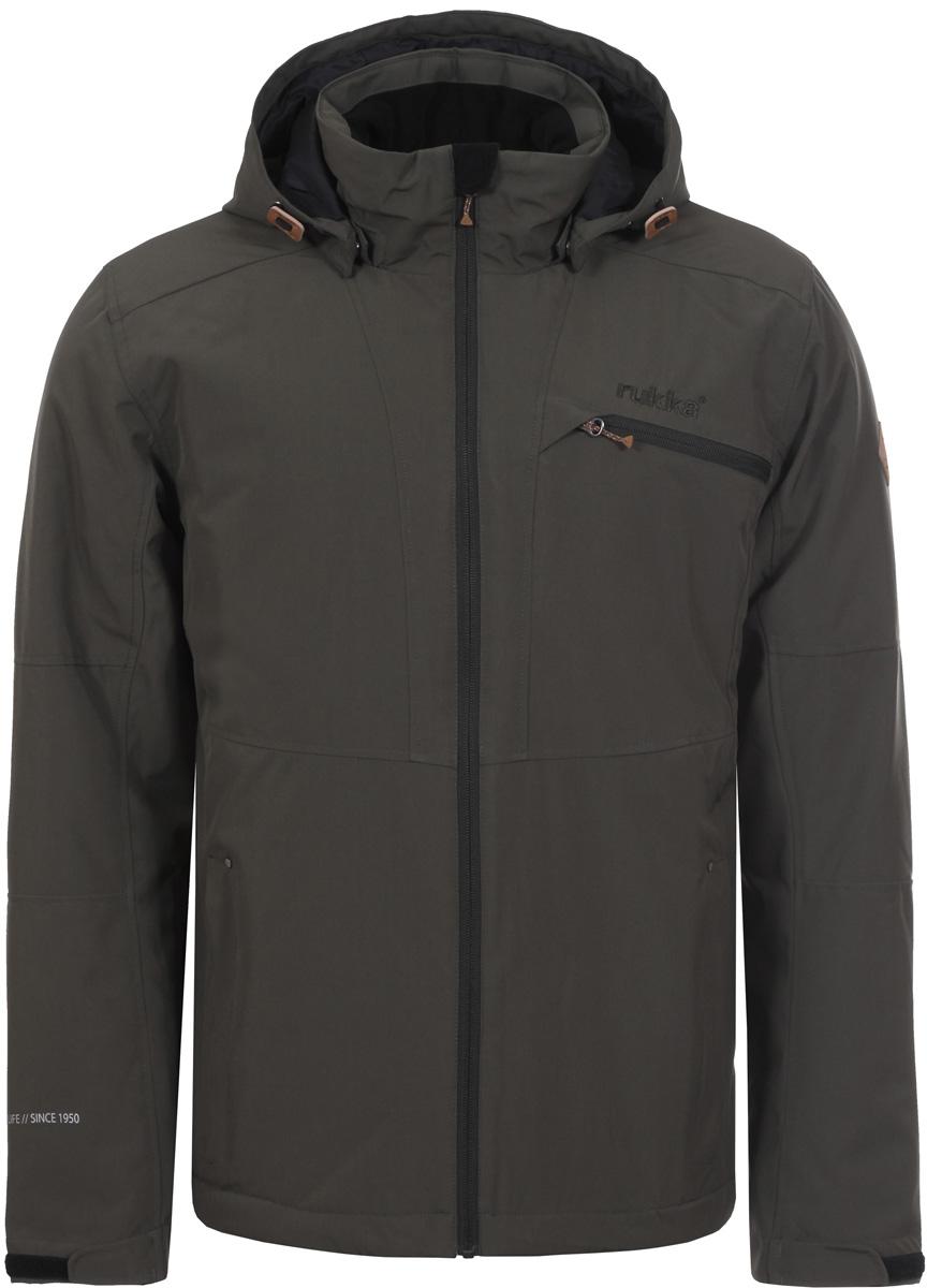 Куртка мужская Rukka, цвет: темно-зеленый. 878356236RV_577. Размер XL (54)878356236RV_577Мужская куртка Rukka выполнена из непродуваемого материала с водоотталкивающим покрытием. В качестве утеплителя используется синтепон. Модель прямого кроя с воротником-стойкой, надежно защищающим от ветра, застегивается на молнию с внутренней ветрозащитной планкой и дополнена тремя наружными и одним внутренним карманами. Регулируемый капюшон крепится при помощи кнопок. Куртка имеет регулируемые манжеты с эластичными вставками и внутреннюю кулиску по низу.