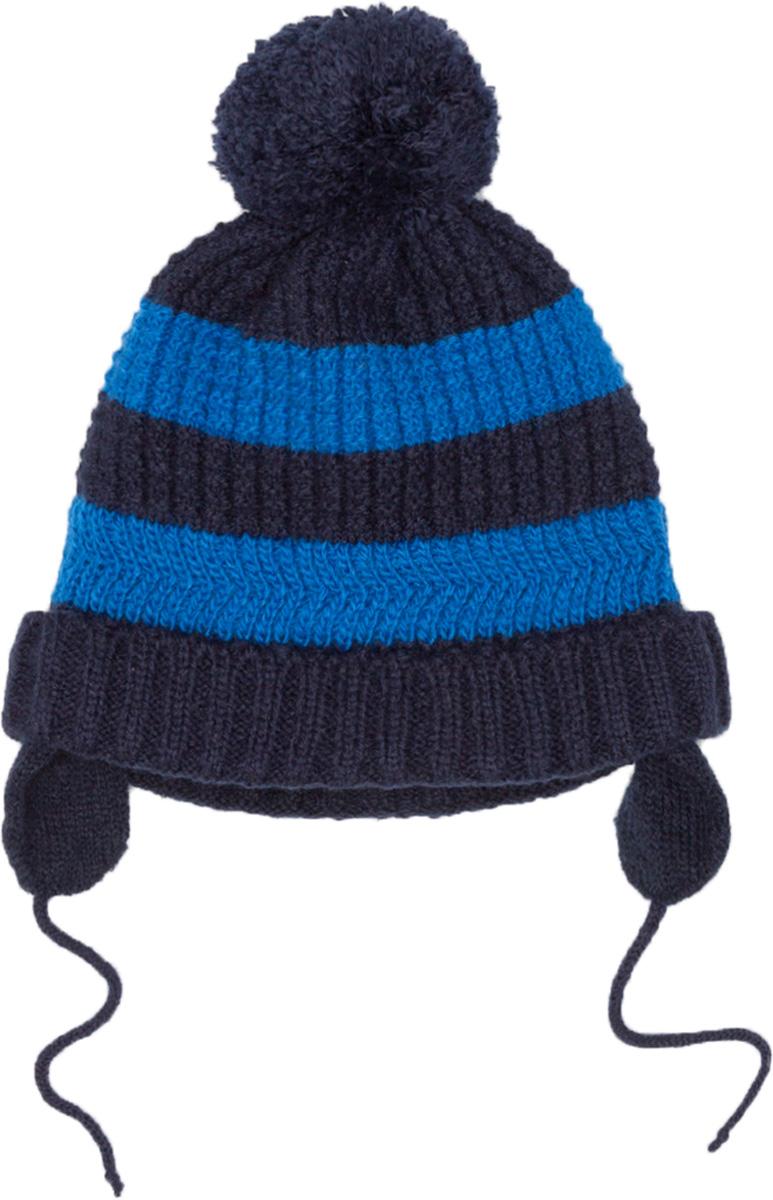 Шапка для мальчика Maloo by Acoola Lepus, цвет: синий. 22156400006_500. Размер 44/4622156400006_500Яркая двухслойная шапка для мальчика Maloo by Acoola Lepus, изготовленная из вязаного трикотажа в полоску, защитит голову ребенка от ветра в прохладную погоду. Модель с помпоном и ушками фиксируется на голове при помощи завязок. Уважаемые клиенты! Размер, доступный для заказа, является обхватом головы ребенка.