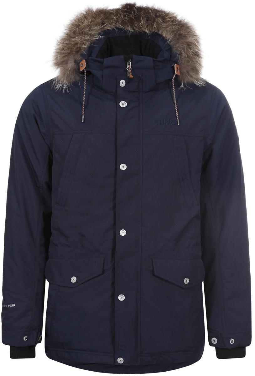 Куртка мужская Rukka, цвет: темно-синий. 878364286R8V_390. Размер S (48)878364286R8V_390Мужская куртка Rukka выполнена из высококачественного материала и превосходно подойдет для прохладных дней. Модель с длинными рукавами и воротником-стойкой застегивается на застежку-молнию и имеет ветрозащитный клапан на кнопках. Куртка дополнена капюшоном с сеховой опушкой. Объем талии регулируется при помощи внутреннего шнурка-кулиски. Внешняя сторона дополнена множеством кармонов.