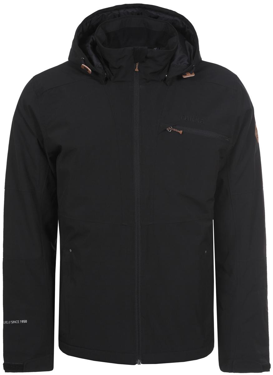 Куртка мужская Rukka, цвет: черный. 878356236RV_990. Размер S (48)878356236RV_990Мужская куртка Rukka выполнена из непродуваемого материала с водоотталкивающим покрытием. В качестве утеплителя используется синтепон. Модель прямого кроя с воротником-стойкой, надежно защищающим от ветра, застегивается на молнию с внутренней ветрозащитной планкой и дополнена тремя наружными и одним внутренним карманами. Регулируемый капюшон крепится при помощи кнопок. Куртка имеет регулируемые манжеты с эластичными вставками и внутреннюю кулиску по низу.