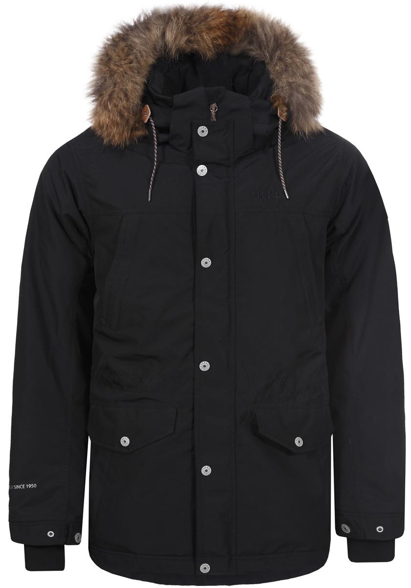 Куртка мужская Rukka, цвет: черный. 878364286R8V_990. Размер XXXL (58)878364286R8V_990Мужская куртка Rukka выполнена из высококачественного материала и превосходно подойдет для прохладных дней. Модель с длинными рукавами и воротником-стойкой застегивается на застежку-молнию и имеет ветрозащитный клапан на кнопках. Куртка дополнена капюшоном с сеховой опушкой. Объем талии регулируется при помощи внутреннего шнурка-кулиски. Внешняя сторона дополнена множеством кармонов.