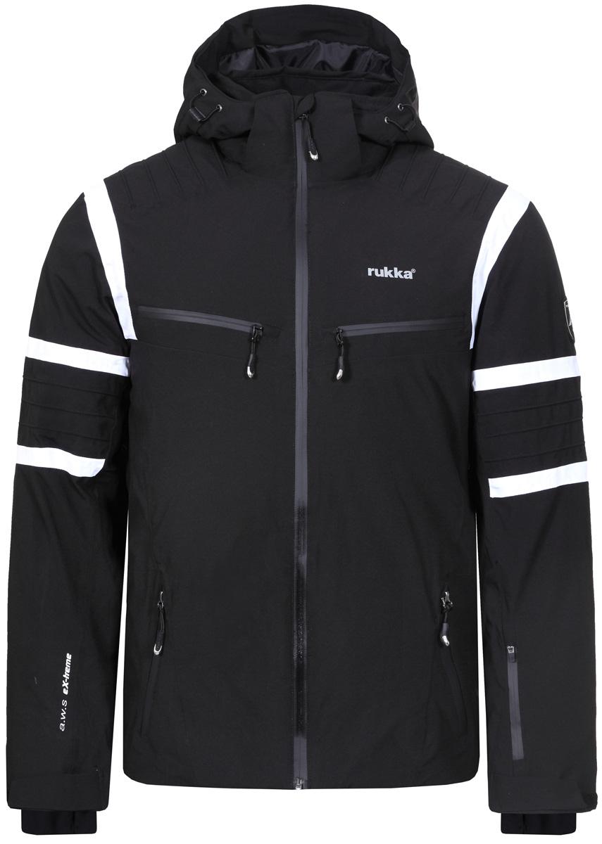 Куртка мужская Rukka, цвет: черный. 878600241RV_990. Размер M (50)878600241RV_990Великолепная утепленная куртка Rukka выполнена из полиэстера. Модель с длинными рукавами, воротником-стойкой и несъемным капюшоном застегивается на застежку-молнию спереди. Верхний материал непромокаемый. По бокам и на груди - прорезные карманы с молнией. Прекрасно подойдет как для города, так и для отдыха на природе.