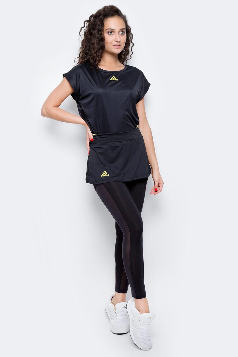 Юбка-тайтсы 2 в 1 для тенниса женская Adidas Us Series Leg, цвет: черный. BP9394. Размер S (42/44)BP9394Женская юбка - тайтсы Adidas выполнена из высококачественного материала. Леггинсы укороченной длины,дополнены сетчатыми вставками по бокам,для повышенной вентиляции. Юбка украшена контрастной вставкой по верхнему краю пояса. Эластичный тонкий трикотаж, облегающий крой и широкий пояс подчеркивают изящность фигуры. Технология climacool® эффективно отводит излишки влаги, сохраняя чувство свежести на протяжении всего дня.