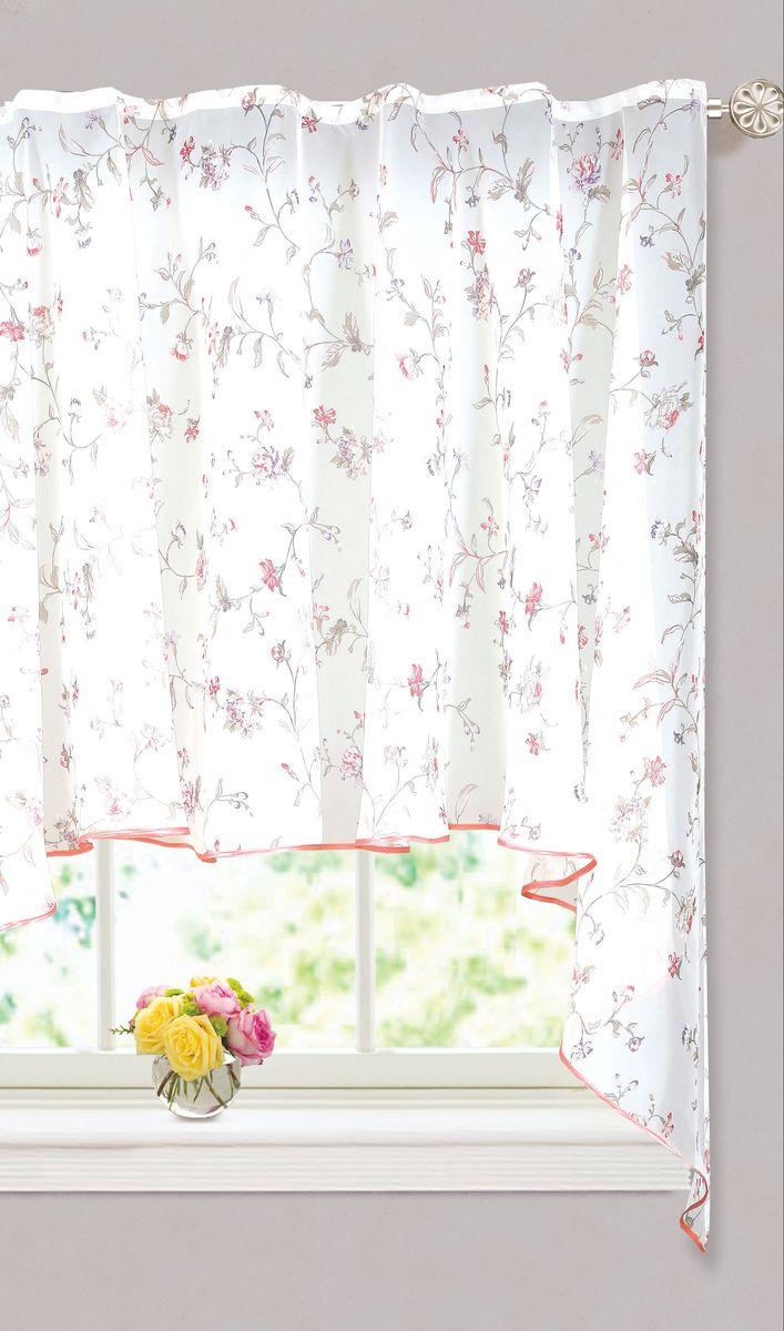Штора Garden, на ленте, цвет: белый, высота 150 см. С 10250-W191 V14С 10250 - W191 V14Полупрозрачная тюлевая штора, выполнена из вуали, подходит для кухни. Приятная цветовая гамма, привлечет к себе внимание и органично впишутся в интерьер помещения. Отличное решение для многослойного оформления окон. Хорошо драпирующиеся, оснащена шторной лентой.