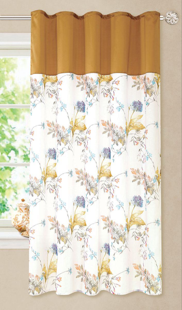"""Изящная штора """"Garden выполнена из батиста с цветочным рисунком, подходит для кухни.  Сочетание плотной и полупрозрачной ткани, приятная цветовая гамма - привлекут к себе  внимание и органично впишутся в интерьер помещения. Отличное решение для многослойного  оформления окон.  Штора крепится на карниз при помощи ленты, которая поможет красиво и равномерно  задрапировать верх."""