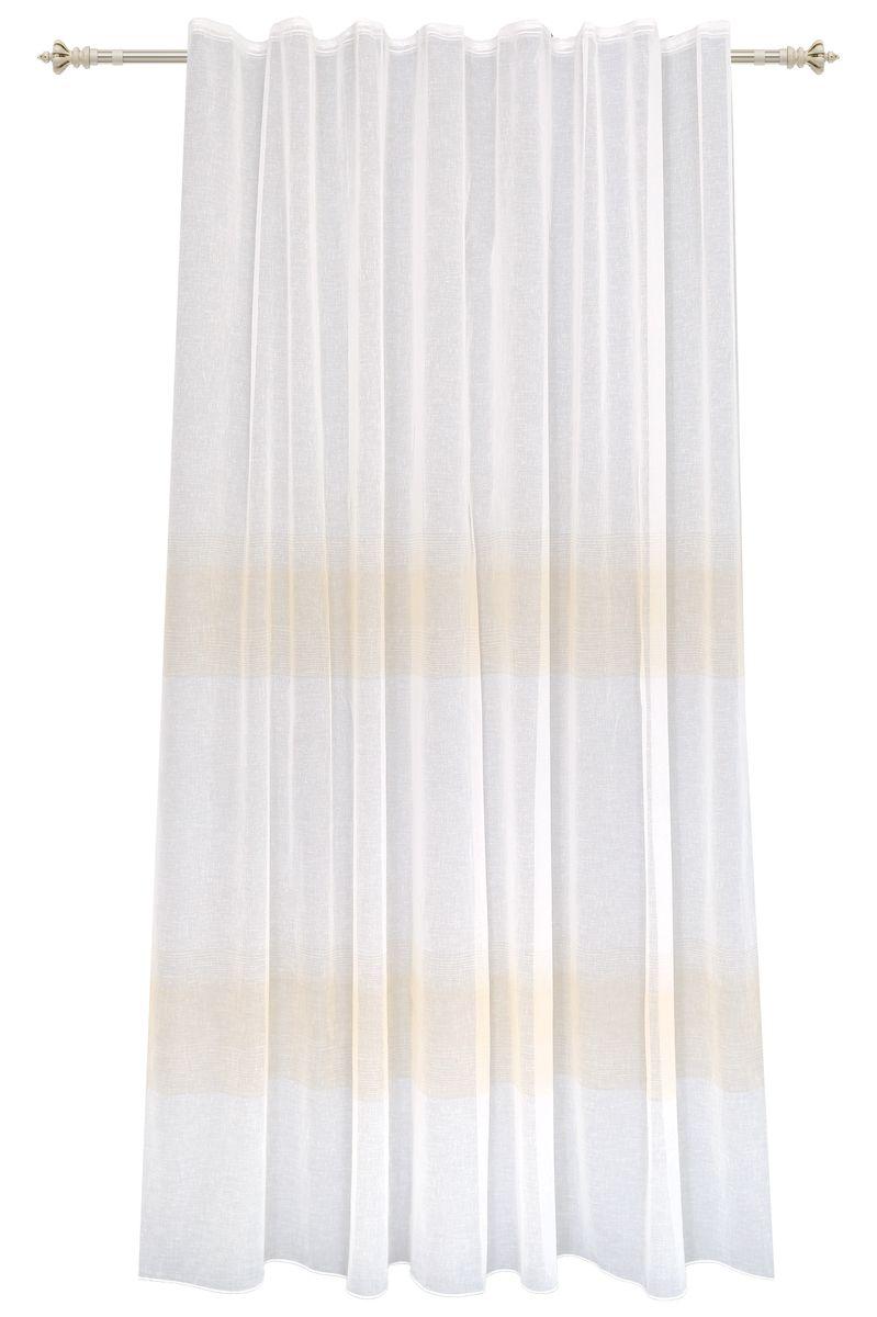 Штора Garden, на ленте, цвет: белый, высота 260 см. С 2402-W628 V1С 2402 - W628 V1Тюлевая штора выполненная из батиста белого цвета, рисунок светло-бежевые полосы. Полупрозрачная ткань, хорошо подойдет для солнечной комнаты. Штора крепится на карниз при помощи шторной ленты, которая поможет красиво и равномерно задрапировать верх.
