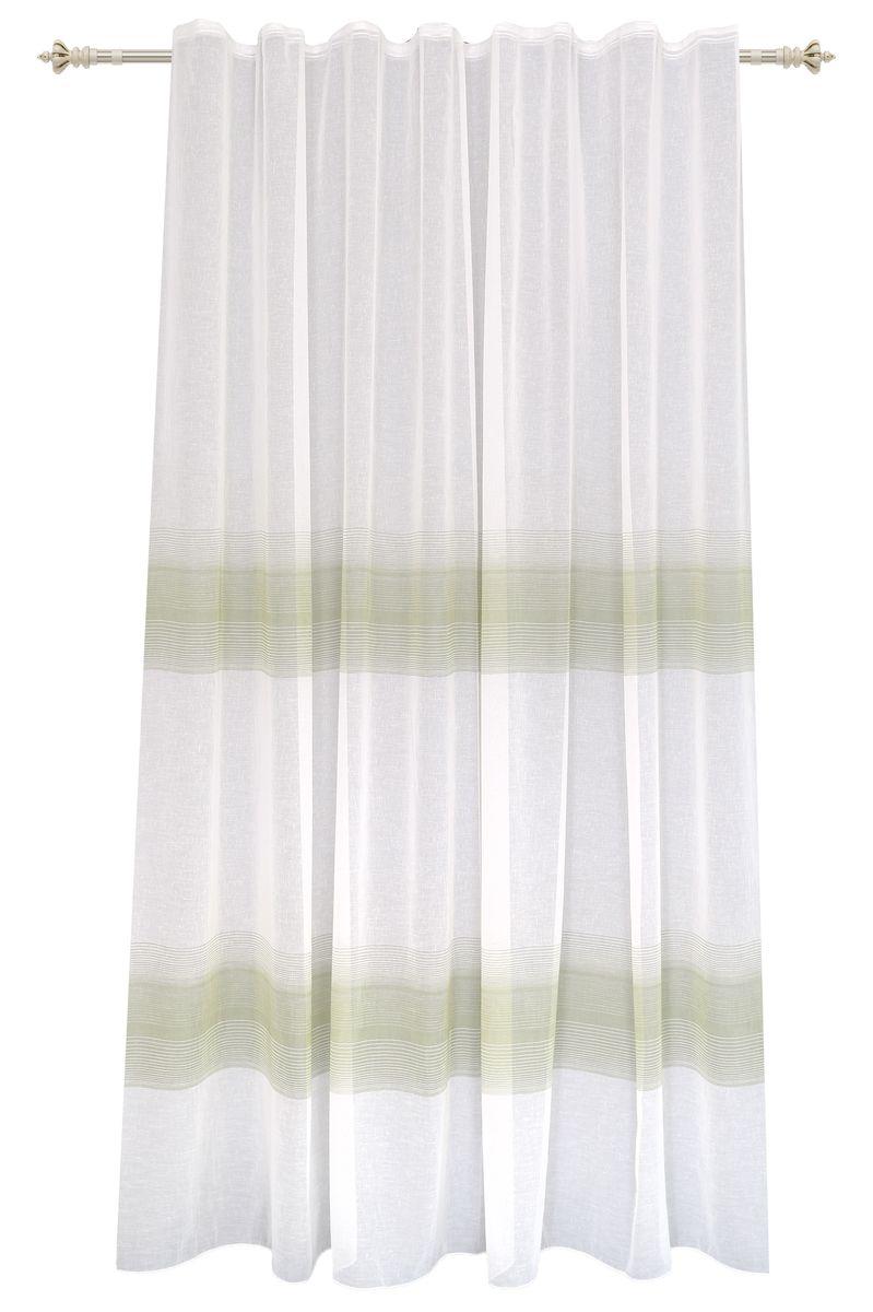 Штора Garden, на ленте, цвет: белый, высота 260 см. С 2402-W628 V4С 2402 - W628 V4Тюлевая штора Garden выполнена из батиста белого цвета, с рисунком бежево-зеленых полос. Полупрозрачная ткань, хорошо подойдет для солнечной комнаты.Приятная текстура и цвет штор привлекут к себе внимание и органично впишутся в интерьер помещения.Штора крепится на карниз при помощи ленты, которая поможет красиво и равномерно задрапировать верх.