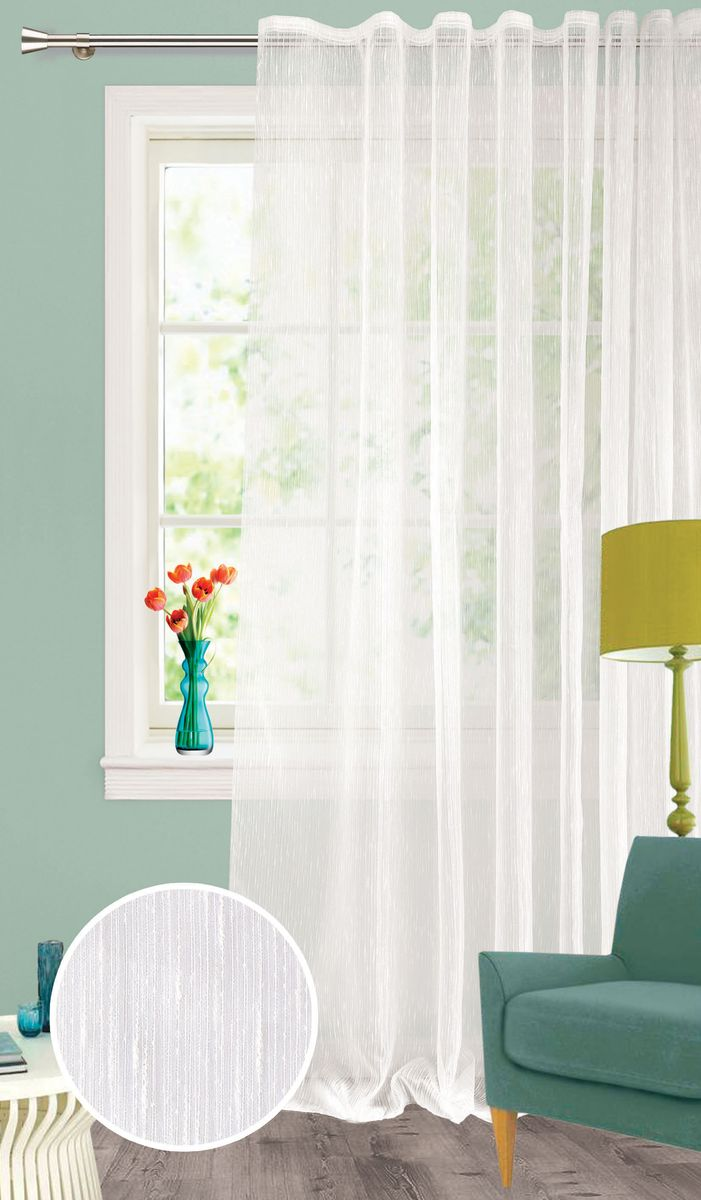 Штора Garden, на ленте, цвет: белый, высота 260 см. С 537651 V1С 537651 V1Изящная тюлевая штора из органзы белого цвета. Тонкая, прозрачная ткань, хорошо драпирующиеся, оснащена шторной лентой.