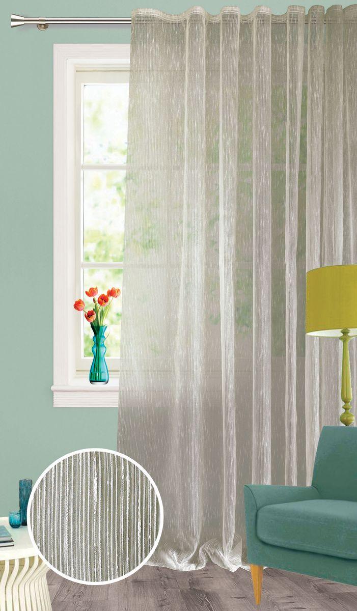 Штора Garden, на ленте, цвет: кремовый, высота 260 см. С 537651 V4С 537651 V4Изящная тюлевая штора из органзы кремового цвета. Тонкая, прозрачная ткань, хорошо драпирующиеся, оснащена шторной лентой.