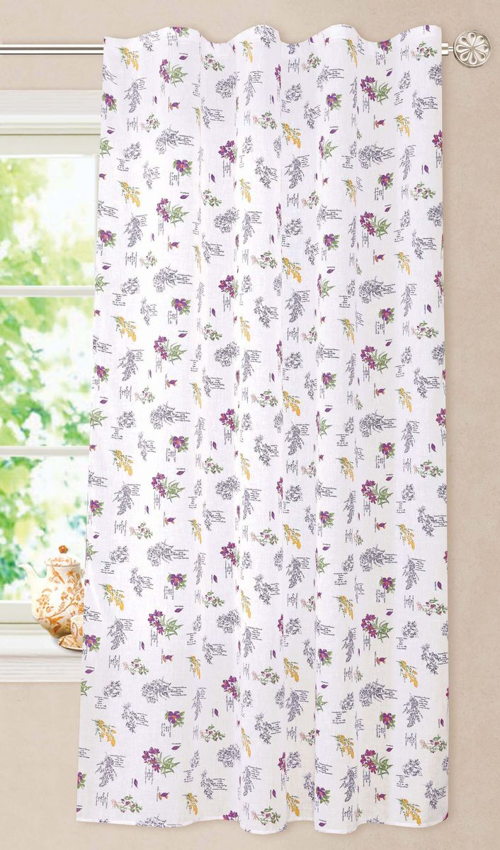 Штора Garden, на ленте, цвет: белый, высота 180 см. С 8257-W2138 V2С 8257 - W2138 V2Полупрозрачная штора, выполненная из ткани имитирующей лен с цветочным рисунком подходит для кухни. Хорошо драпирующиеся, оснащена шторной лентой.