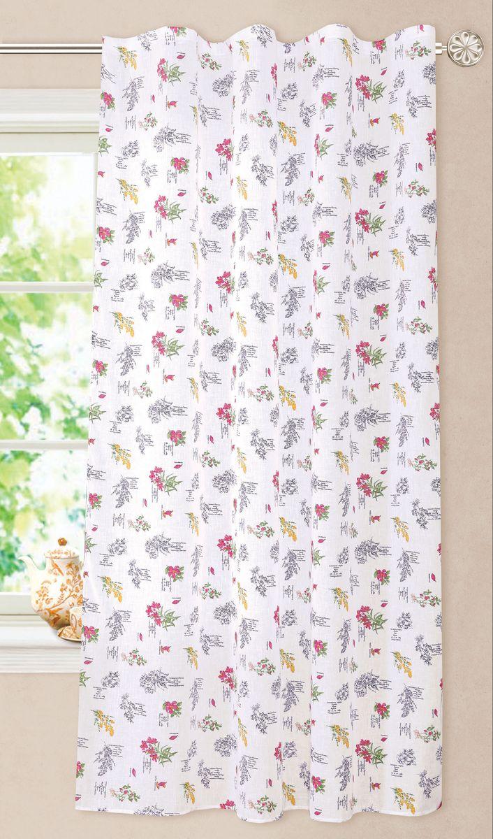 Штора Garden, на ленте, цвет: белый, высота 180 см. С 8257-W2138 V8С 8257 - W2138 V8Полупрозрачная штора Garden, выполненная из ткани имитирующей лен с цветочным рисунком, великолепно украсит любое окно.Приятная текстура и цвет штор привлекут к себе внимание и органично впишутся в интерьер помещения.Штора крепится на карниз при помощи ленты, которая поможет красиво и равномерно задрапировать верх.