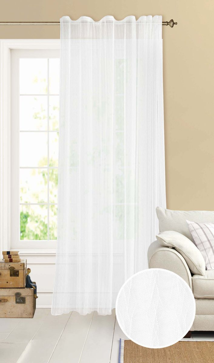 Штора Garden, на ленте, цвет: белый, высота 260 см. С W2041 V70000С W2041плиссе V70000Изящная тюлевая штора из сетки плиссе белого цвета. Тонкая, прозрачная ткань, хорошо драпирующиеся, оснащена шторной лентой.