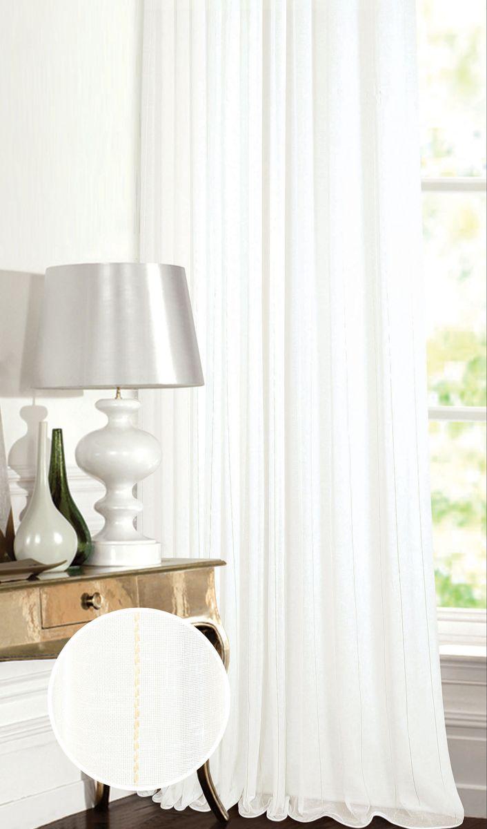 Штора Garden, на ленте, цвет: белый, высота 260 см. С W2337 V2С W2337 V2Тюлевая штора Garden выполнена из батиста белого цвета, с тонкими вертикальными полосами, салатового цвета. Полупрозрачная ткань, хорошо подойдет для солнечной комнаты.Приятная текстура и цвет штор привлекут к себе внимание и органично впишутся в интерьер помещения.Штора крепится на карниз при помощи ленты, которая поможет красиво и равномерно задрапировать верх.