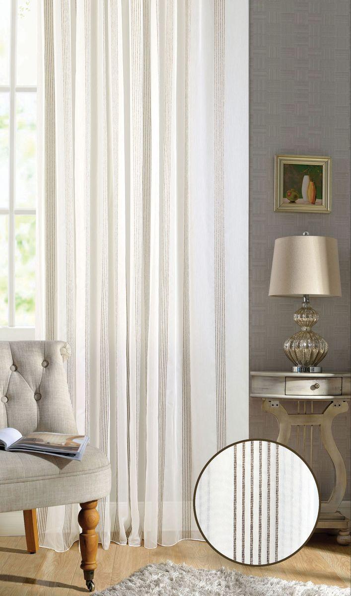 Штора Garden, на ленте, цвет: белый, высота 260 см. С W2347 V4С W2347 V4Тюлевая штора Garden выполнена из батиста белого цвета, с вертикальными полосами, коричневого цвета. Полупрозрачная ткань, хорошо подойдет для солнечной комнаты.Приятная текстура и цвет штор привлекут к себе внимание и органично впишутся в интерьер помещения.Штора крепится на карниз при помощи ленты, которая поможет красиво и равномерно задрапировать верх.
