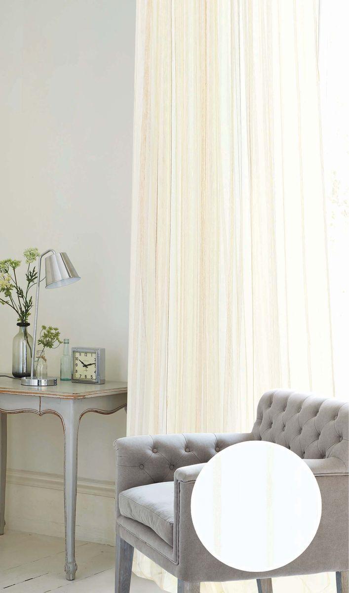 Штора Garden, на ленте, цвет: молочный, высота 260 см. С W2498 V1С W2498 V1Тюлевая штора Garden выполнена из высококачественной сетчатой ткани белого цвета с полосой молочного цвета. Полупрозрачная ткань, хорошо подойдет для солнечной комнаты.Штора оснащена шторной лентой.