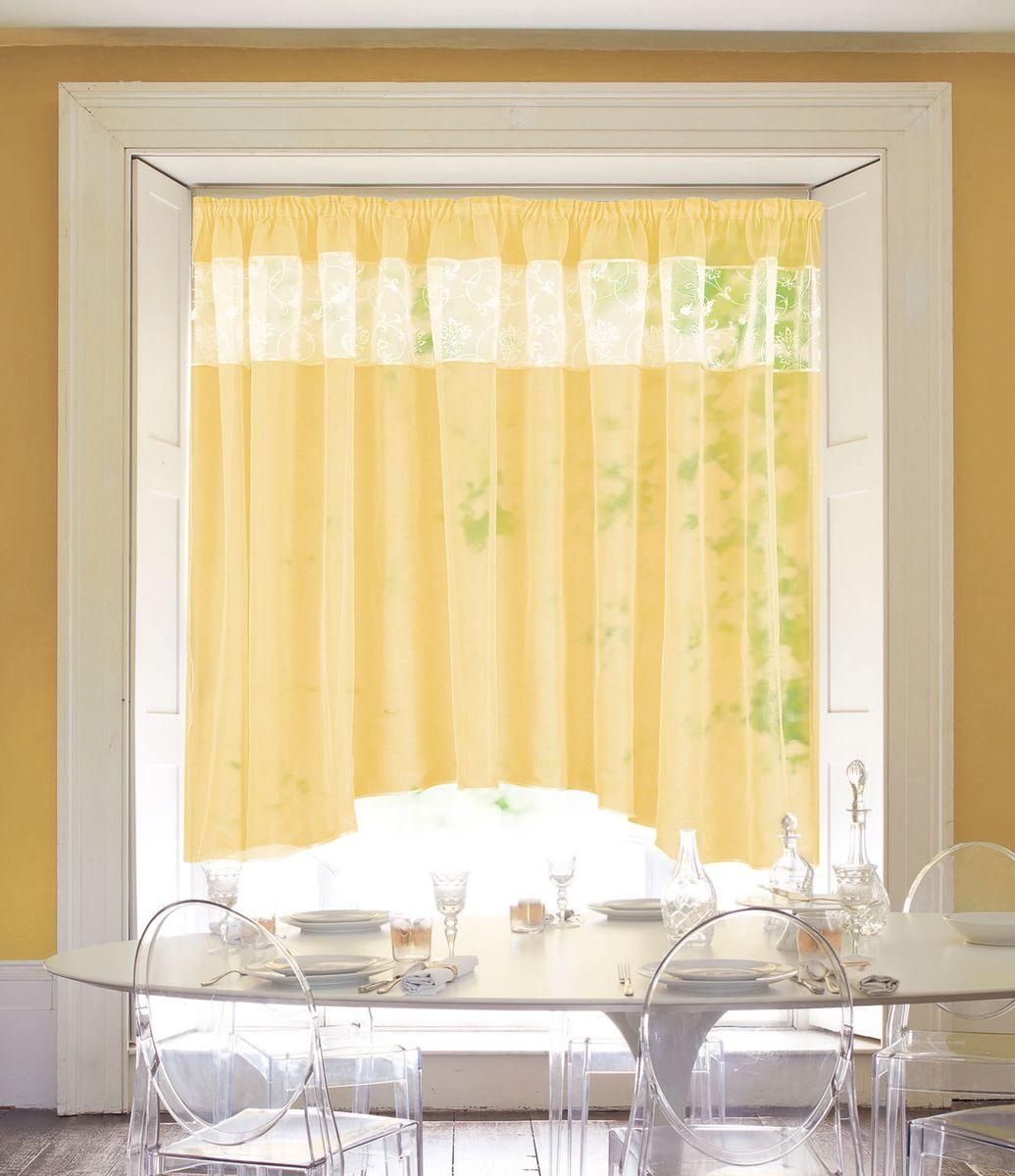 Штора Garden, на ленте, цвет: желтый, высота 170 см. С W875 V8С W875 V8Изящная штора Garden выполнена из однотонной полуорганзы, подходит для кухни. br>Приятная текстура и цвет штор привлекут к себе внимание и органично впишутся в интерьер помещения.Штора крепится на карниз при помощи ленты, которая поможет красиво и равномерно задрапировать верх.