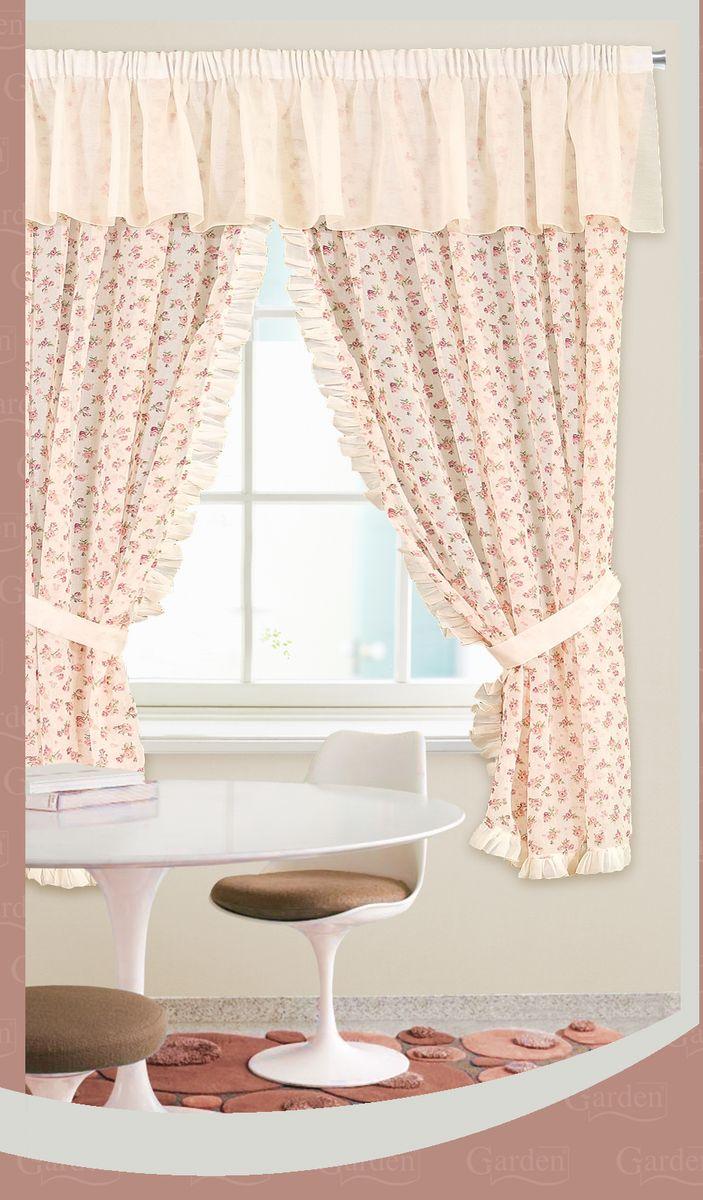 Комплект штор Garden, на ленте, с ламбрекеном, цвет: персиковый, высота 180 см, 2 шт. C 5377-W628 V1C 5377W628w628 V1Роскошный комплект штор Garden, выполненный из батиста великолепно украсит любое окно. Комплект состоит из двух штор. Воздушная ткань и приятная, приглушенная гамма привлекут к себе внимание и органично впишутся в интерьер помещения. Этот комплект будет долгое время радовать вас и вашу семью! Шторы крепятся на карниз при помощи ленты, которая поможет красиво и равномерно задрапировать верх. Шторы можно зафиксировать в одном положении с помощью двух подхватов.В комплект входит: Штора: 2 шт. Размер (Ш х В): 145 см х 180 см.