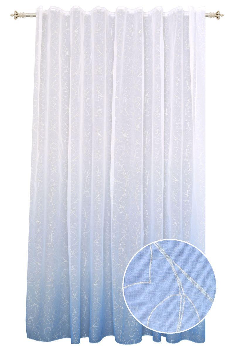 Штора Garden, на ленте, цвет: голубой, высота 260 см. С 1287-W2529 V56С 1287 - W2529 V56Тюлевая штора выполненная из тонкой полупрозрачной ткани, имитация льна с эффектом радуги и растительным рисунком. Подходит под любой интерьер. Штора крепится на карниз при помощи шторной ленты, которая поможет красиво и равномерно задрапировать верх.