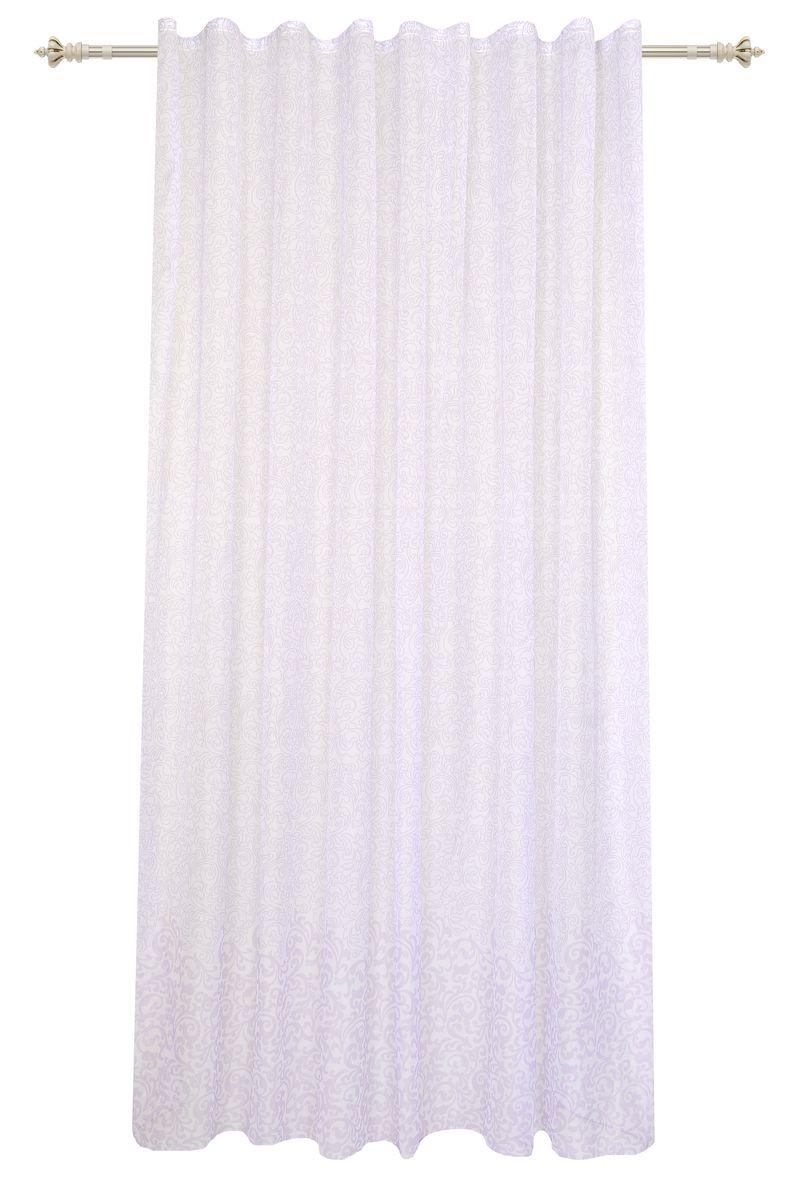 Штора Garden, на ленте, цвет: белый, сиреневый, высота 260 см. С 1434-W191 V7С 1434 - W191 V7Изящная штора Garden выполнена из вуали белого цвета с узором и изящной каймой сиреневого цвета. Полупрозрачная ткань, хорошо подойдет для солнечной комнаты. Приятная текстура и цвет штор привлекут к себе внимание и органично впишутся в интерьер помещения.Штора крепится на карниз при помощи ленты, которая поможет красиво и равномерно задрапировать верх.