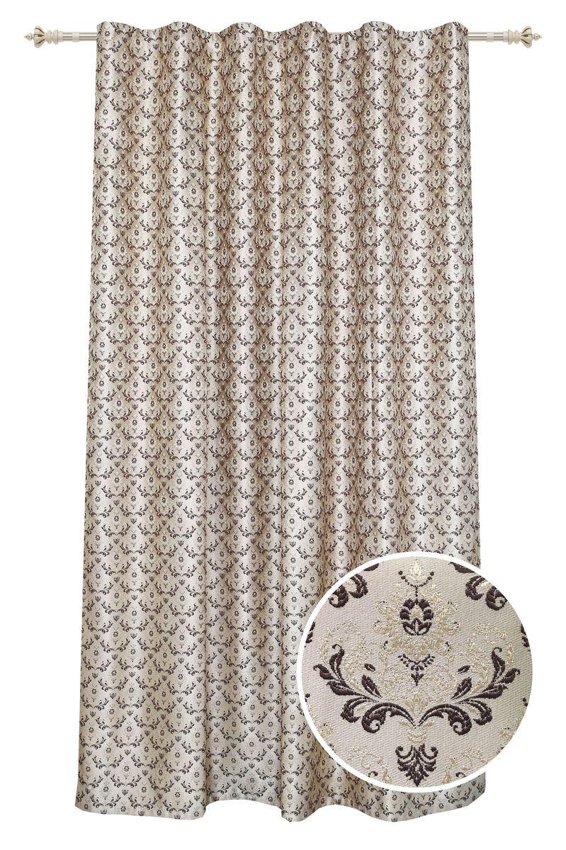 Штора Garden, на ленте, цвет: золотисто-коричневый, высота 260 см. С 537643 V17С 537643 V17Штора для гостиной, выполнена из жаккарда с рисунком вензель золотисто-коричневого цвета. Высокая прочность и износоустойчивость используемых тканей надолго сохранят первоначальный вид изделия. Приятная текстура и цвет штор привлекут к себе внимание и органично впишутся в интерьер помещения.Штора крепится на карниз при помощи ленты, которая поможет красиво и равномерно задрапировать верх.