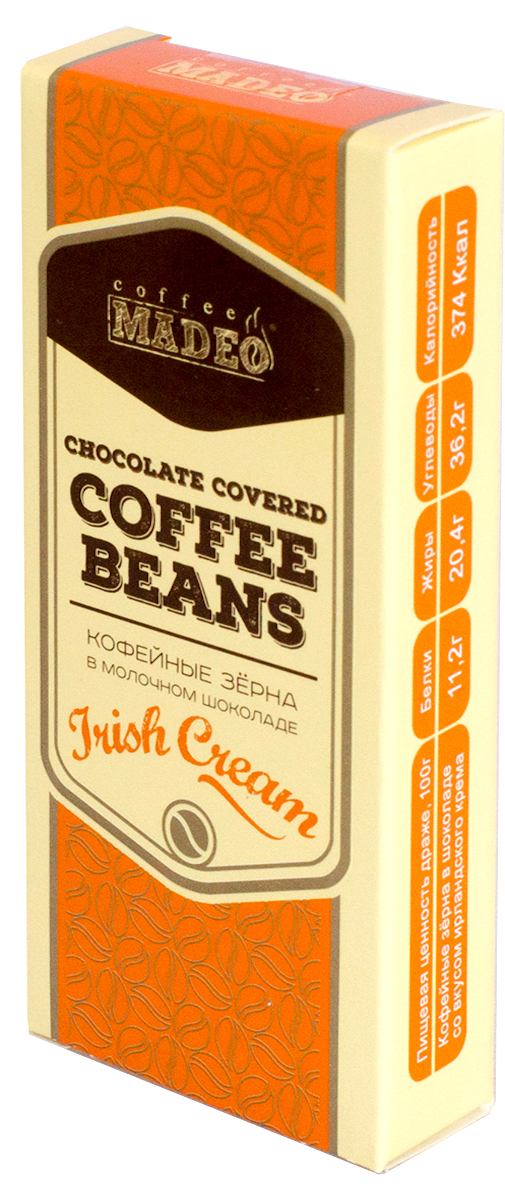 Madeo Кофейные зерна в молочном шоколаде, Irich Cream, 25 г madeo ethiopia mokka tippi кофе в зернах 200 г