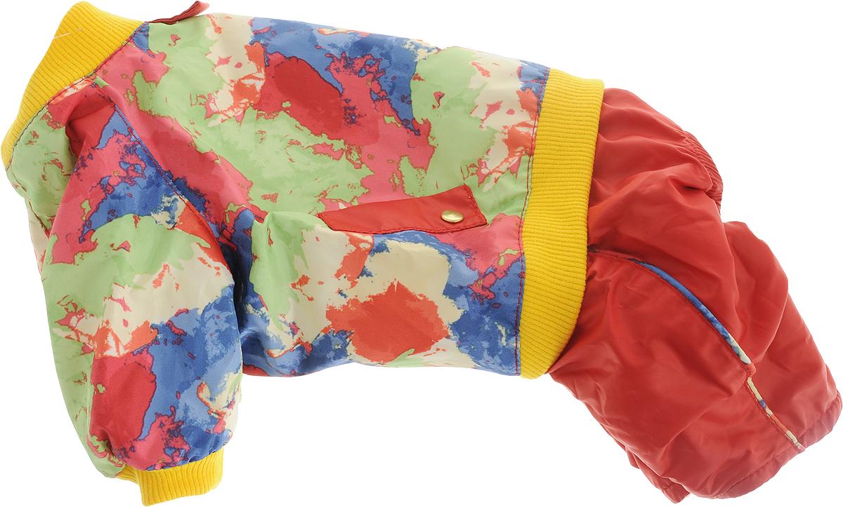 Комбинезон для собак Dogmoda Акварель, для девочки, цвет: красный, синий, зеленый, желтый. Размер 2 (M)DM-150311-2_желтые манжетыКомбинезон для собак Dogmoda Акварель отлично подойдет для прогулок поздней осенью или ранней весной.Комбинезон изготовлен из полиэстера, защищающего от ветра и осадков, с подкладкой из флиса, которая сохранит тепло и обеспечит отличный воздухообмен. Комбинезон застегивается на кнопки, благодаря чему его легко надевать и снимать. Ворот, низ рукавов оснащены широкими трикотажными манжетами, которые мягко обхватывают шею и лапки, не позволяя просачиваться холодному воздуху. На пояснице комбинезон декорирован трикотажной резинкой.Благодаря такому комбинезону простуда не грозит вашему питомцу и он не даст любимцу продрогнуть на прогулке.