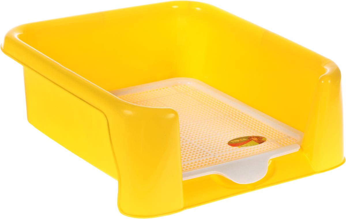 Туалет для собак  Triol , с сеткой, цвет: желтый, 40 х 40 х 15,5 см - Наполнители и туалетные принадлежности