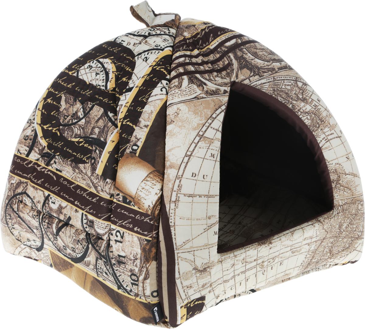 Домик для кошек и собак Гамма, цвет: коричневый, черный, бежевый, 41 х 41 х 46 см гамма миска для кошек и собак n2