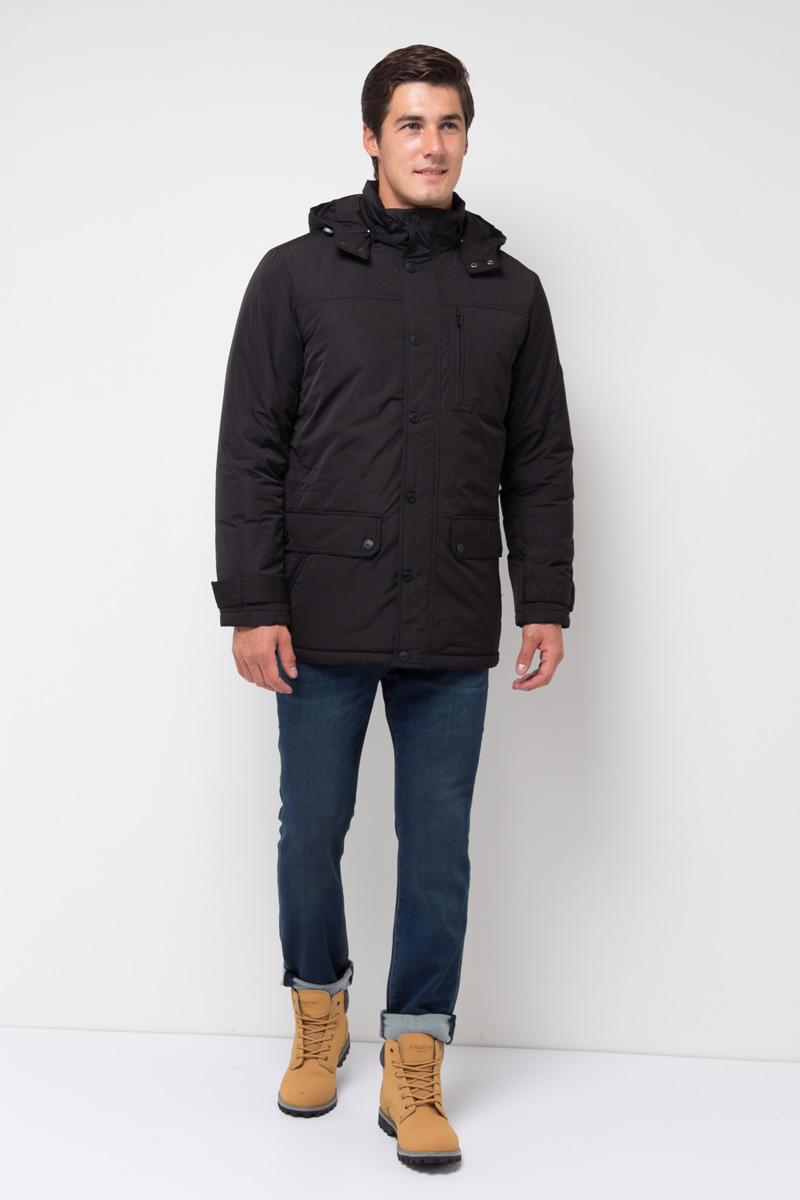Куртка мужская Sela, цвет: черный. Cp-226/394-7311. Размер L (50)Cp-226/394-7311Модная куртка от Sela выполнена из высококачественного материала с утеплителем из синтепона. Модель полуприлегающего кроя с отстегивающимся капюшоном застегивается на молнию и дополнена ветрозащитным клапаном на кнопках. Имеются боковые карманы с клапанами.