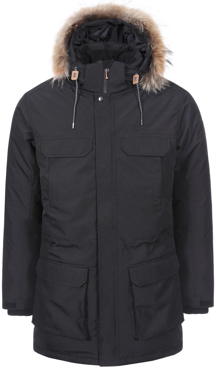 Пальто утепленное с капюшоном мужское Rukka, цвет: черный. 878352286R8V_990. Размер XL (54)878352286R8V_990Великолепная утепленная парка Rukka выполнена из полиэстера. Модель с длинными рукавами и капюшоном застегивается на застежку-молнию спереди. Верхний материал непромокаемый. Модель имеет ветрозащитный клапан на кнопках. По бокам и на груди накладные карманы. Прекрасно подойдет как для города, так и для отдыха на природе.