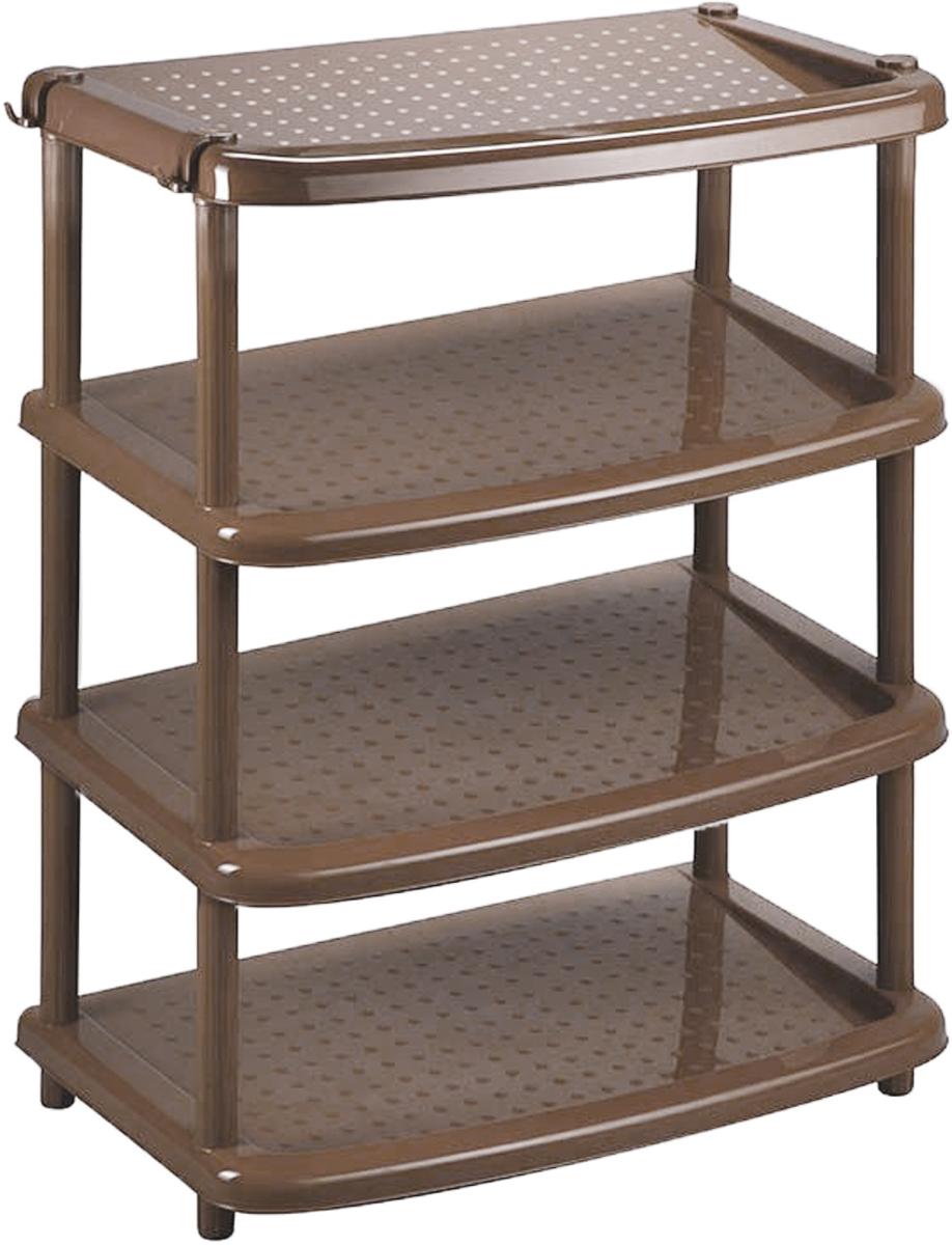 Этажерка для обуви Паола, 4-х ярусная, цвет: коричнево-серый, 49 х 31 х 67 смС12400Этажерка Паола с 4 полками выполнена из высококачественного пластика и предназначена для хранения обуви в прихожей. На каждой поле может поместиться по две пары обуви. Очень удобная и компактная, но в тоже время вместительная, этажерка прекрасно впишется в пространство вашей прихожей. Легко собирается и разбирается.Размер этажерки (ДхШхВ): 49 х 31 х 67 см. Размер полки (ДхШхВ): 49 х 31 х 2,5 см.