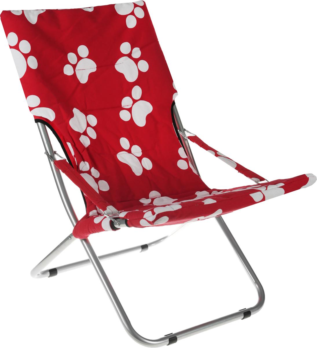 Кресло складное Wildman, цвет: красный, белый, 73 х 60 х 100 см81-455_красный/белые лапкиНа складном кресле Wildman можно удобно расположиться в тени деревьев, отдохнуть в приятной прохладе летнего вечера.В использовании такое кресло достойно самых лучших похвал. Кресло выполнено из текстиля, каркас металлический. Мягкий съемный чехол с наполнителем из синтепона крепится на кресло при помощи застежек-липучек. В сложенном виде кресло удобно для хранения и переноски.