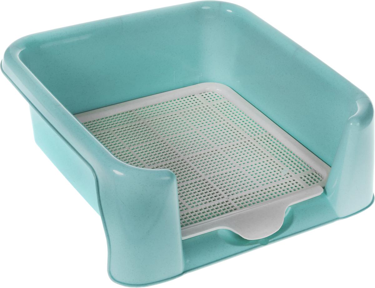 Туалет для собак  Triol , с сеткой, цвет: голубой, 40 х 40 х 15,5 см - Наполнители и туалетные принадлежности